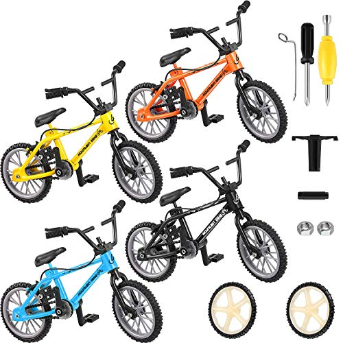 8 Pieces Finger Bikes Mini Finger Mountain Bikes with Brake Ropes Double-Bar Finger Bicycle with Replacement Wheels and Tools Boy Toy Creative Game Gifts for Party Favors