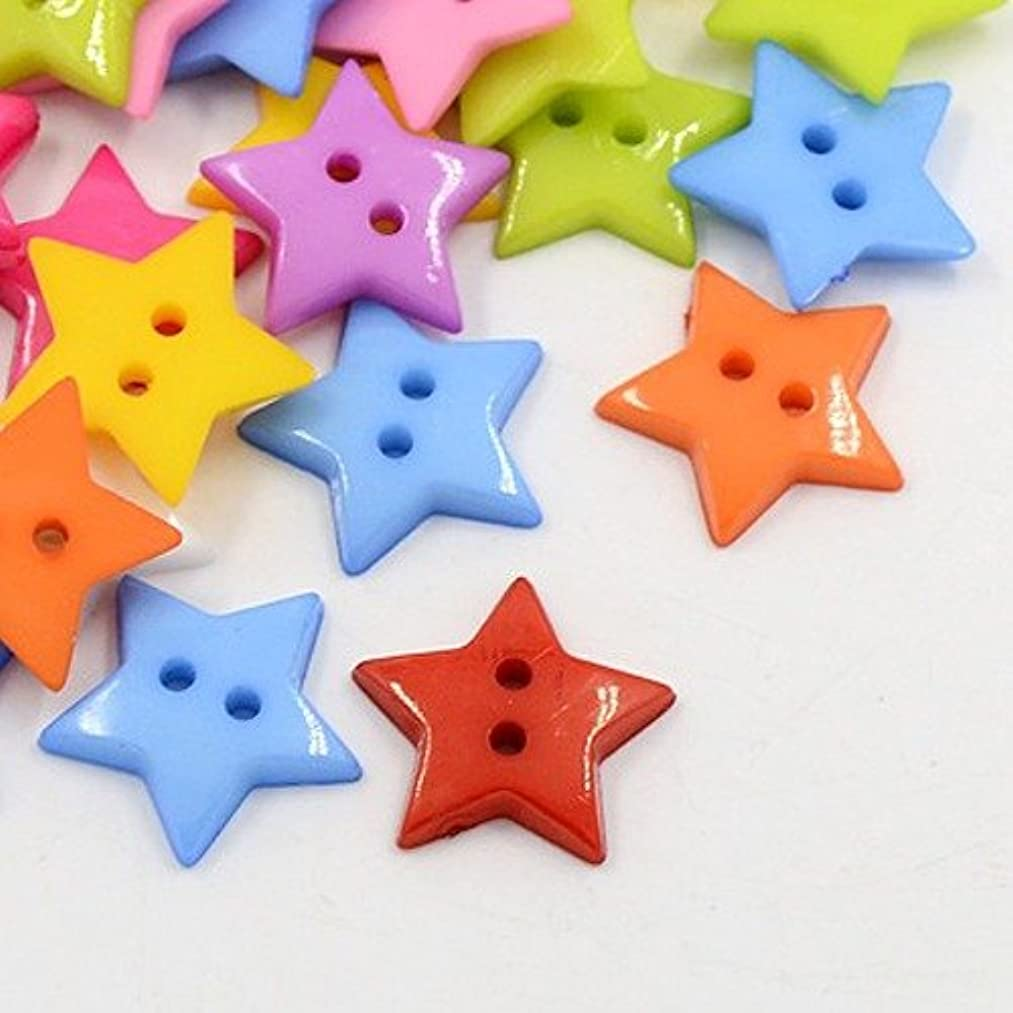 PEPPERLONELY Brand 100PC Mixed Color Star Acrylic 2-Hole Dyed Sewing Button 16x2mm(5/8 x 1/12 Inch)