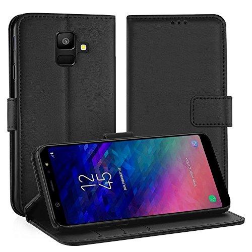 Simpeak Coque Compatible pour Samsung Galaxy A6 2018, Housse en Cuir Premium Flip Case Etui Compatible pour Samsung A6 2018 Coque - Noir