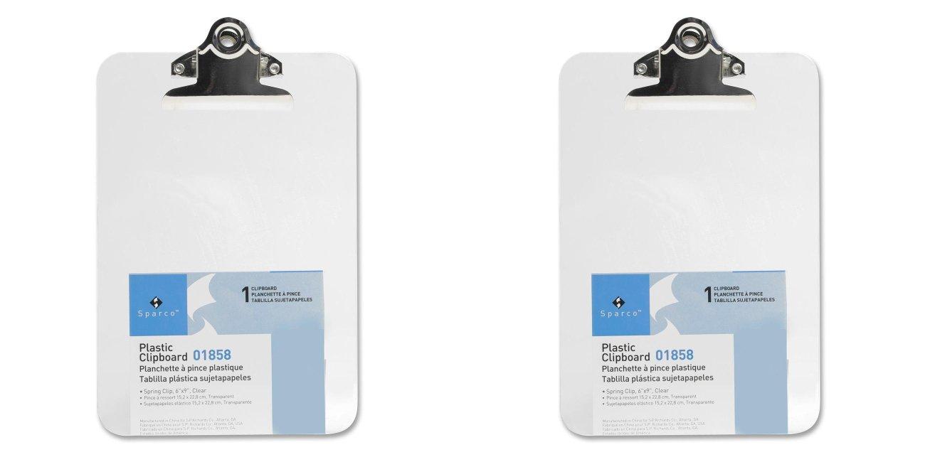 6 Pack Business Source Transparent Plastic Clipboard