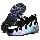 Calababa JD031 Zapatillas para niños con luz LED 2019 USB Cesta de Carga Zapatos con luz para niños y niñas Luminosas Zapatillas Doradas Plateadas JD031 Negro, 5.5