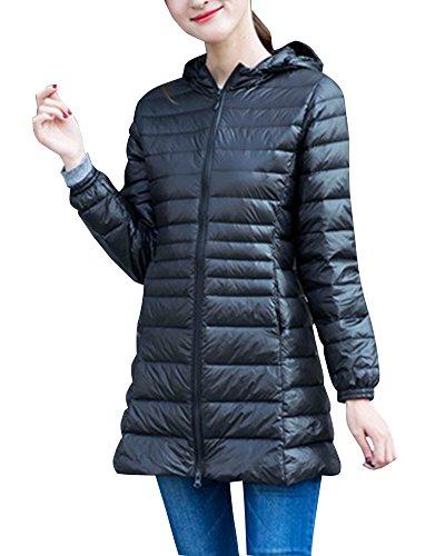 Damen Bepackbare Steppjacke Mit Kaputze Leichte Daunenjacke Für Winter Schwarz L