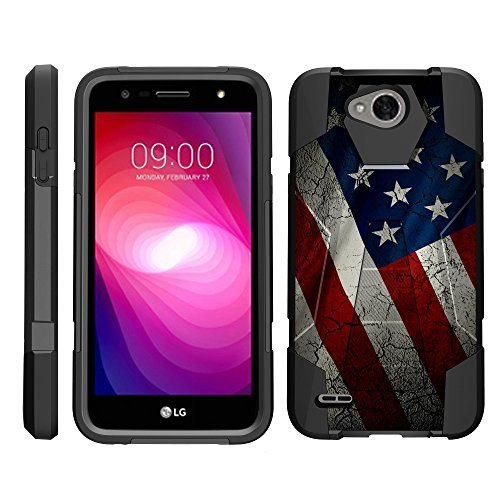 TurtleArmor   Compatible with LG X Power 2 Case   LG Fiesta 2 Case   LG X Charge Case [Dynamic Shell] Hybrid Dual Layer Hard Shell Cover Kickstand Silicone Case - American Flag