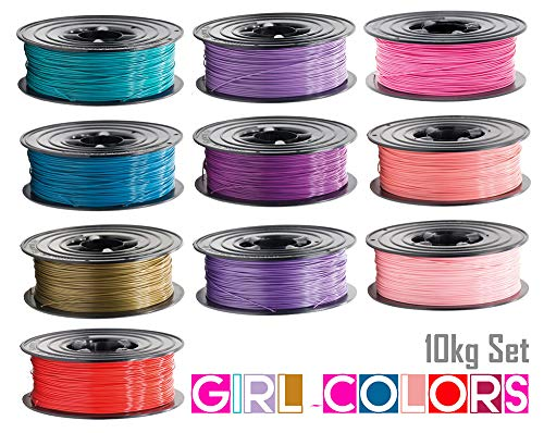 10x PLA Filament 1kg Rolle 1,75mm 10 Farben Girl-Colors für 3D Drucker 3D Printer oder Stift 10er Set (10Kg)