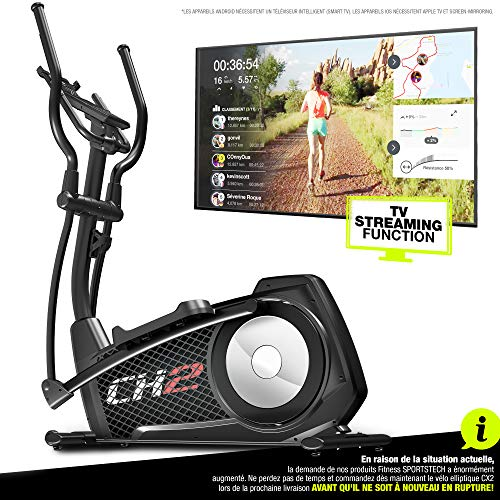 Sportstech - Ellittica CX2 Cross Trainer con app Smartphone e generatore di corrente Integrato – include console Bluetooth e supporto per Tablet – ergometro con massa volanica da 27 kg, CX2 compatible avec application