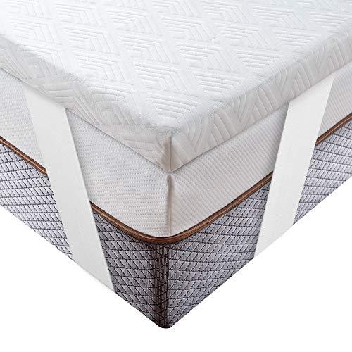 BedStory Topper Viscoelastico 150x190x5cm Topper Colchón con Té Verde Natural Anti-ácaros y Transpirable Sobrecolchón Viscoelastico con Funda Desmontable y Lavable