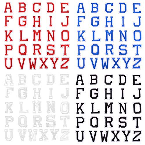 LUTER 104 Pezzi Lettere Adesive per Tessuto - Lettere Termoadesive, Toppe Ricamate lettere A-Z per Abbigliamento, Cucito, Artigianato - Rosso, Blu, Bianco, Nero