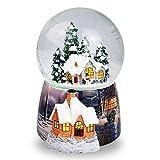 Navidad casa en la nieve bola de cristal caja de música giratorio automático copo...