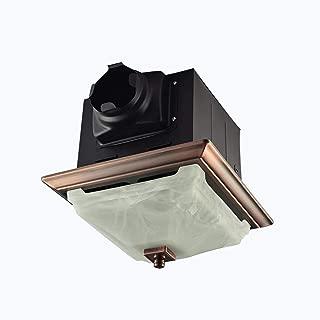 Lift Bridge Kitchen & Bath DSQR110ORB Decorative Oil Rubbed Bronze 110CFM Ceiling Light and Glass Globe Exhaust Bath Fan (Renewed)