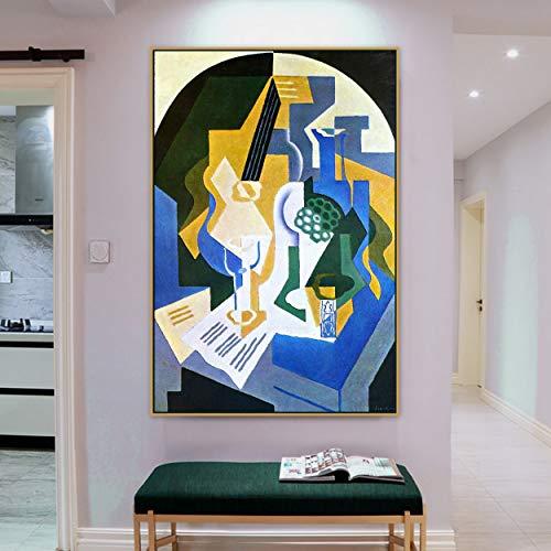 Wehoiweh Juan Gris Altes berühmtes Meisterkünstler-Stillleben mit Obstschale und Mandolinen-Leinwand-Druck für Raumwanddekor-Wandkunst (30x45cm) 12