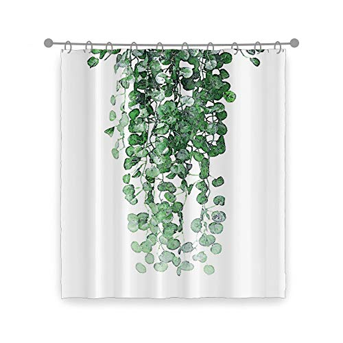 YongFoto Grüne Blätter Duschvorhang botanische Weinrebe Frühling Pflanze Badezimmer Duschvorhang Dekor Polyester Stoff Badvorhang 152,4 x 183,9 cm Set mit Haken