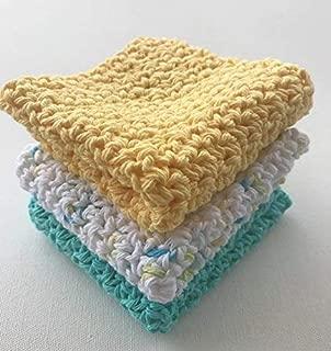 Yellow Aqua Blue and White Flecked Crochet Cotton Dishcloth, Set of Three (3)
