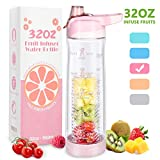 32 oz Water Bottles with Filter Fruit Infuser Water Bottle with Timer Marker Clear Plastic Water Bottles BPA Free, Infusion Water bottle with handle, Portable Pink Water Bottle for Birthday Gifts