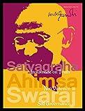 1art1 Mahatma Gandhi Poster Kunstdruck und MDF-Rahmen