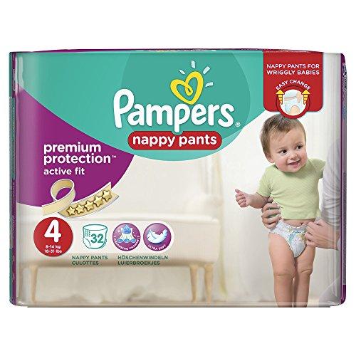 Pampers Premium Active Fit Windel-Hose, 8–14kg–Größe 4, 3Stück (insgesamt 96Windeln)