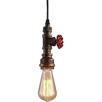 iDEGU Suspension Luminaire Industrielle, Plafonnier Lustre Design Tuyau Art Déco pour Café, Bar, Restaurant, Cuisine Bronze Antique