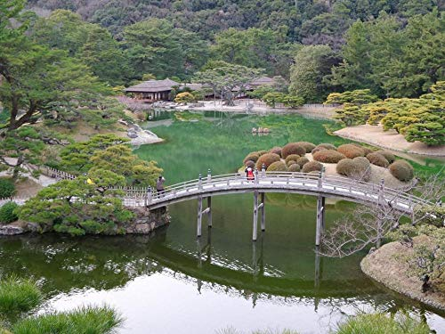 100/300/500/1000 piezas juego de rompecabezas juguetes para niños adultos,Jardín japonés en Takamatsu, Japón Puzzle Game Interesante Juguetes