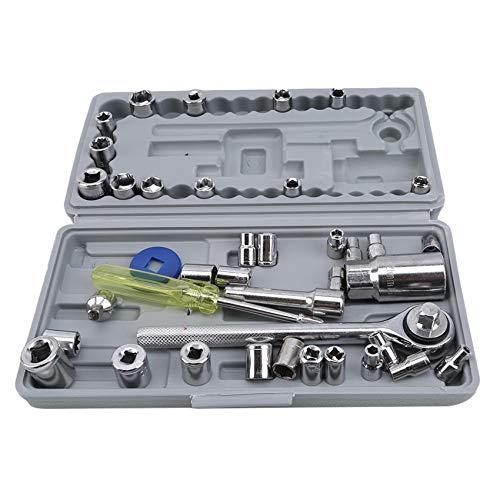 Generic Sawyerda 40-teiliges Auto- und Motorradwerkzeug-Steckschlüsselset Auto-Autoreparaturwerkzeug-Schraubenschlüssel-Kombinationsschraubendreher-Kit