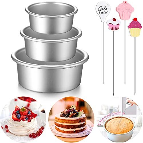 Kuchenform Mini Runde Aluminium Kuchenformen und Kuchen Tester Set, Kleine Antihafte Runde Käsekuchen Backformen für Persönlich Heim Party Backen Zubehör (3, 4 Zoll, 6 Zoll, 8 Zoll)