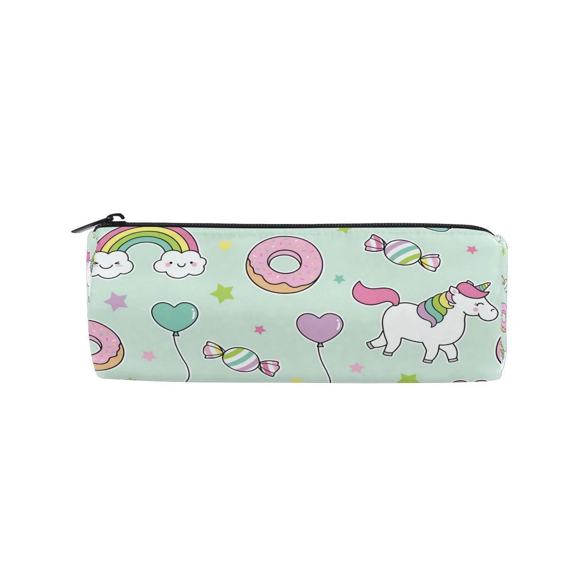 Estuche para lápices con diseño de unicornio con arcoíris, para niños, niñas, estudiantes, bolsa, bolsa de maquillaje redonda: Amazon.es: Oficina y papelería