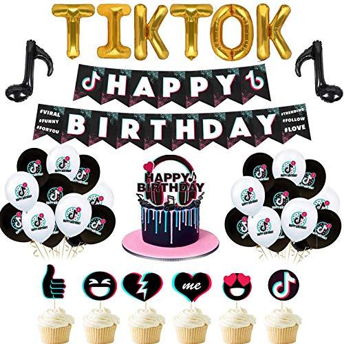 Tik Tok Suministros de decoración de fiesta de cumpleaños de aluminio con combinación de globos para niños y niñas, incluye pancarta de cumpleaños de aluminio, globos, tarjetas (56 piezas)