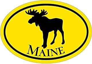 WickedGoodz Oval Yellow Maine Vinyl Decal - Moose Bumper Sticker - Perfect Vacationer Gift