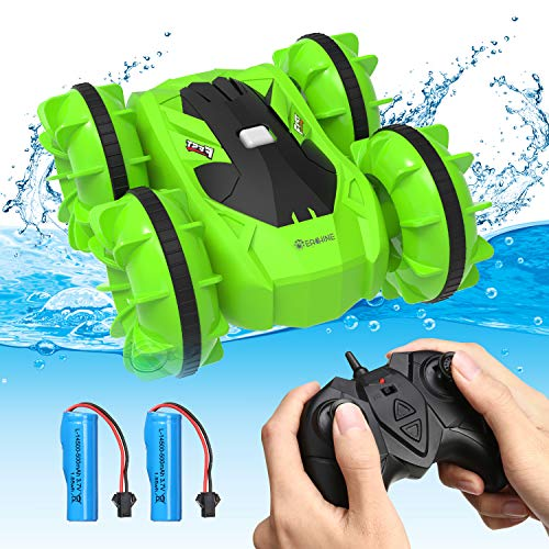 RC Boat for Kids, EACHINE EC21 Waterproof Stunt Car Remote Control Car for Boys Age 8-12, 2 in 1 RC Boat for Kids and Adult for Lake/Pool/Pond Amphibious Remote Control car (Green)