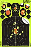 25 Pack - 8'x12' Silhouette 'Stick & Splatter' - Adhesive SPLATTERBURST Shooting Targets - Instantly See Your Shots Burst Bright Fluorescent Yellow Upon Impact - Great for all firearms, rifles, pistols, AirSoft, BB & Pellet guns!