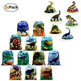 BeeGreen Dinosaur Party Supplies Favors Bags 12 Pack and Dinosaur Birthday Hats 24 Pack Dino Party Accessories for Kids Girls Boys