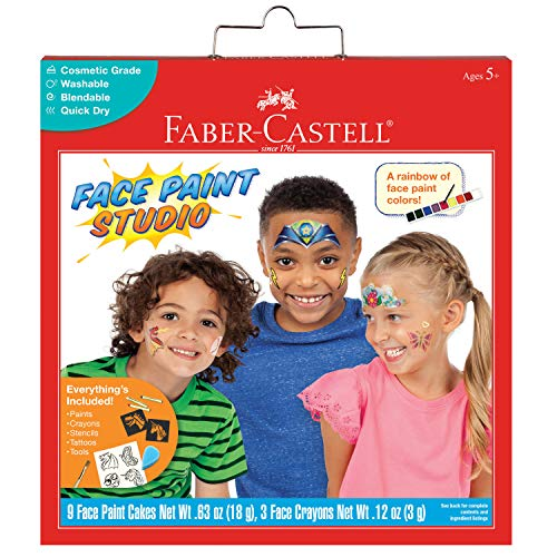 Faber-Castell Face Paint Studio Kit - Face Painting Kit for Kids - Non-Toxic Face Paint for Halloween, Kids Party, Carnival, Rainy Day Activities