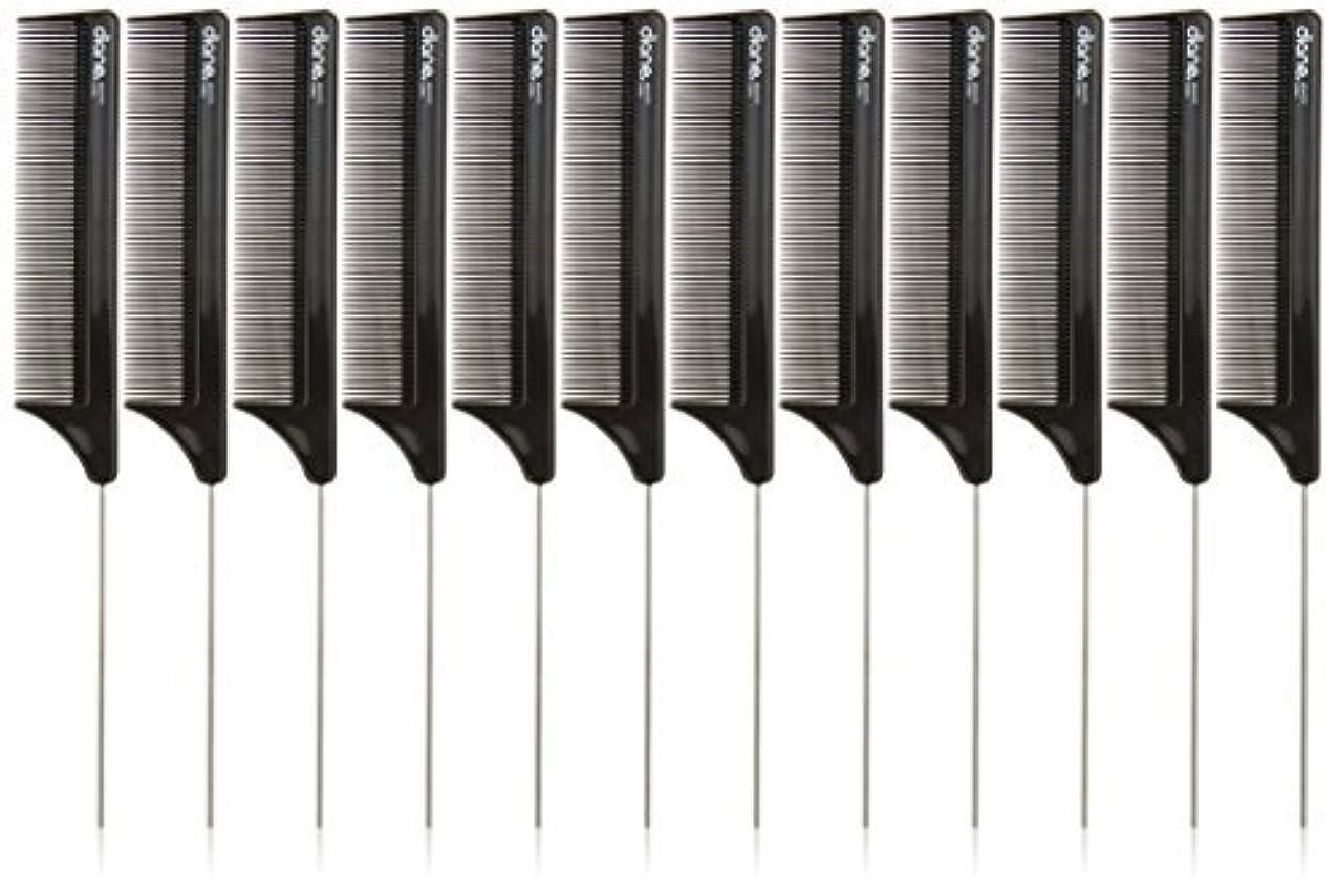鋭く溶けるそうDiane Pin Tail Comb Dozen, Black, 8.25 Inch [並行輸入品]
