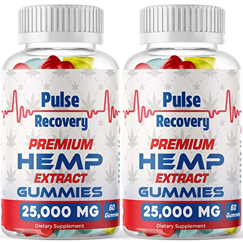 Hemp Gummies (2-Pack - 120 Count) Premium Hemp Extract Sugar Coated Gummies - 25,000mg per Bottle - for Relief of Pain, Stress, Anxiety, & Improved Sleep - 100% Natural - Made in USA