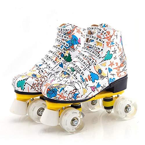 LBWNB Roller Skates Rollschuhe Disco Roller LED Lichter Blinken Für Kid Jungen Mädchen Rollschuhe Outdoor/Indoor Weiß,31