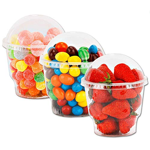 12 oz Clear Plastic Dessert Cups with Lids – 25 Sets Disposable Snack Bowls for Ice Cream, Parfait, Banana Pudding, Jello and Individual Desserts at Party, Fruit Cup with Dome Lid No Hole