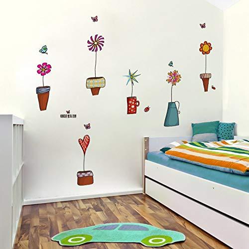 Creatieve Kleurrijke Vlinder Bloempotten Muurstickers Kinderen Tekenen voor Kinderen Kamer DIY Verwijderbare Kids Slaapkamer Raam Decor