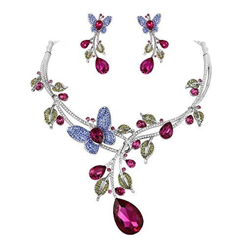 Ever Faith österreichischen Kristall bunt Blatt Vine Schmettering Tropfen Halskette Ohrring Set Fuchsia Silber-Ton