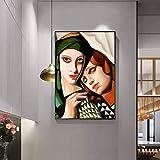 5D-DIY- Pintura de diamanteb Pintora polaca abstracta en turbante verde Conjunto completo bordados de diamantes, mosaicos,de herramientas, pinturas de diamantes completos, art40x60cm(Sin marco)