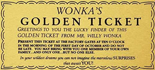 YASMINE HANCOCK Willy Wonka Golden Ticket Gold Sign Wall Art Charlie Chocolate Factory Metall Plaque Zinn Logo Poster Wand Kunst Cafe Club Bar Wohnkultur