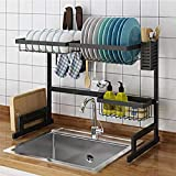 Dish Drying Rack Over Sink Kitchen Supplies Storage Shelf Countertop Space Saver Display Stand Tableware Drainer Organizer Utensils Holder Stainless Steel