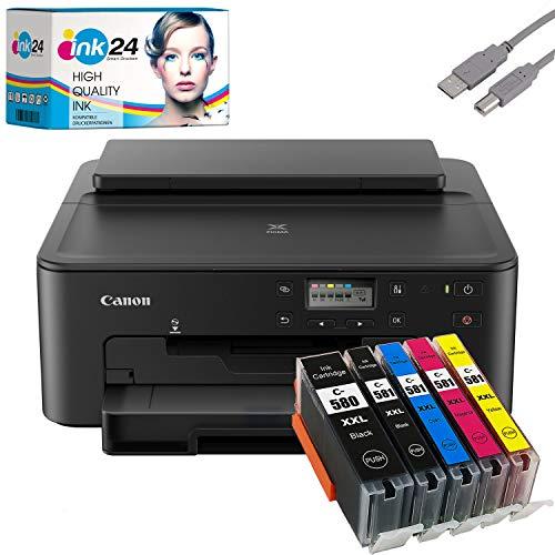 Canon PIXMA TS705 Tintenstrahldrucker schwarz + USB Kabel & 5 kompatible Druckerpatronen der Marke ink24 (Drucken per USB oder WLAN) - Originalpatronen ausdrücklich Nicht im Lieferumfang!