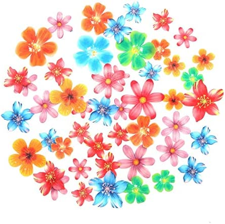 GEORLD 48Pcs Edible Cupcake Toppers Cake Flower Decoration Birthday Party Mixed Size Colour product image