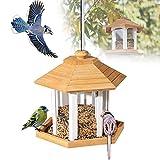 EnweMahi Comedero Pájaros Pabellón Madera Alimentador Comida Aves con Techo Impermeable Dispensador Comida Pájaros Silvestres Colgante para Loros Agapornis Canarios Gorriones