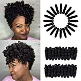 Creamily 3 Packs 10inch Synthetic Carrie Curl Crochet Braids 8mm 20 Roots/pack Short Crochet Hair Extension for Black Women