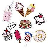 9 piezas, Parche termoadhesivo,pegatinas de tela bordadas,ropa de bricolaje,adecuada para abrigos,camisetas,jeans, pastel de helado