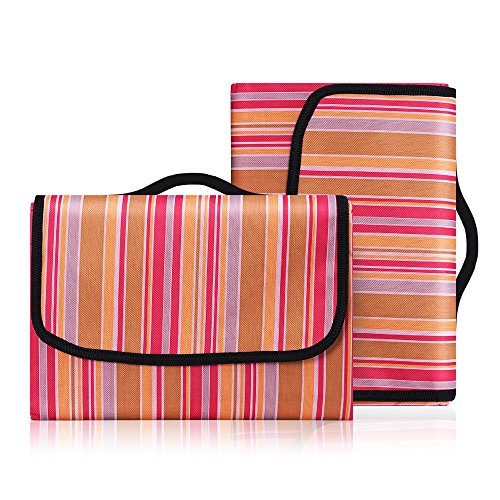 Codomoxo groot tapijt, 200 x 200 cm, picknickkleed, opvouwbaar en waterdicht tafelkleed voor camping tuin, zonder zand, met handgrepen L Azul Y Amarillo