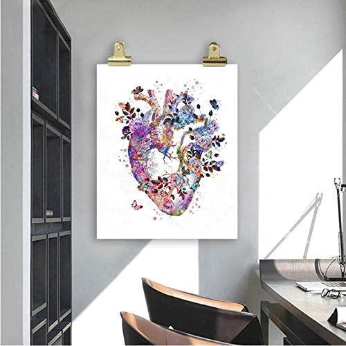 XCPINGYIDU Cartel Vintage de anatomía del corazón Humano Impresiones de órganos de Regalo de Estudiantes de Medicina Arte Acuarela Lienzo Pintura médicos Oficina decoración de Pared 50x75cm sin Marco