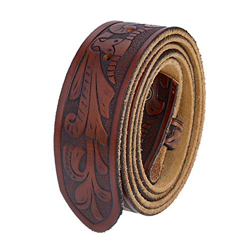 Unisex Full Grain Genuine Leather Embossed Brown Belt Strap Without Buckle (34-36 (M))