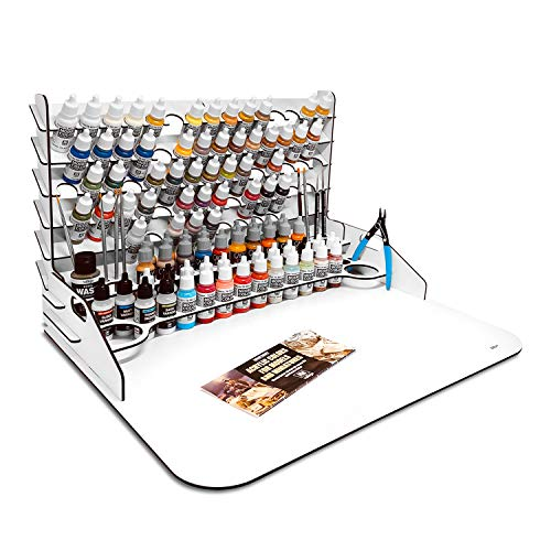 Paint Station grande. Mesa de trabajo, organizador y soporte para Pinturas Vallejo (50x37 cm + Extension)
