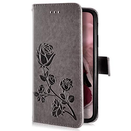 Uposao Kompatibel mit iPhone XS Max Handyhülle Handytasche Rose Blumen Muster Leder Wallet Schutzhülle Brieftasche Hülle Klapphülle Brieftasche Tasche Flip Case Kartenfächer,Grau