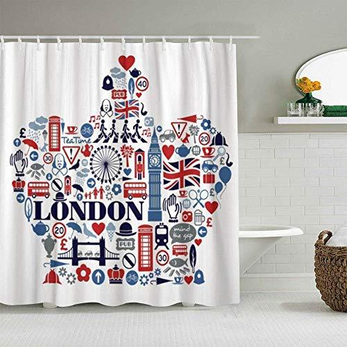 N\A Duschvorhang England London Großbritannien Großbritannien Kultur Sehenswürdigkeiten Sehenswürdigkeiten Zeichen Zug Ben Tube Queen Big Guard wasserdichte Badvorhänge Haken enthalten -